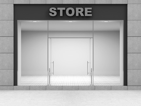 simple store: Modern Empty Store Front with Big Windows