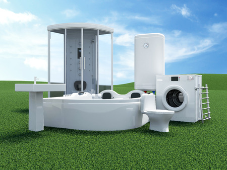 Group of Bathroom Equipment on Beautiful Landscape with Clouds and Sun.
