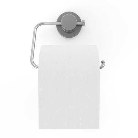 White Toilet Paper on Holder isolated on white background photo