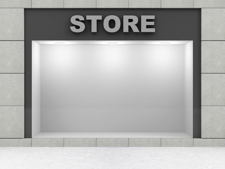 simple store: Modern Empty Store Front with Big Window