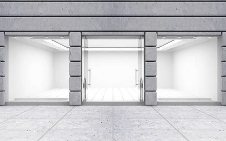 pracoviště: Moderní Prázdné Store Front s velkým oknem Reklamní fotografie