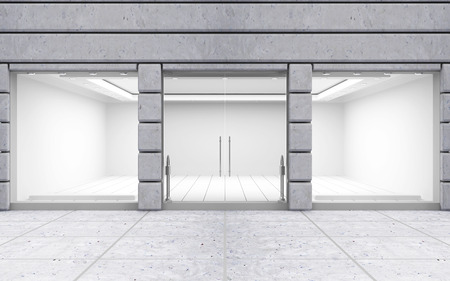 puerta: Modern Frente Empty tienda con ventana grande