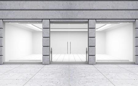 Modern vazio frente da loja com grande janela