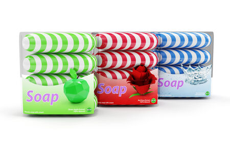 Group of Colorful Soap isolated on white background photo