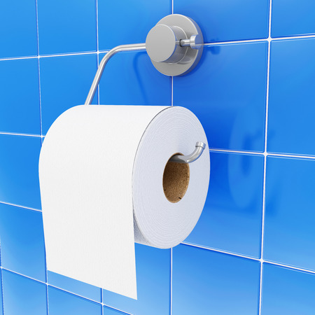 Close-up view of White Toilet Paper on Holder in Bathroom photo