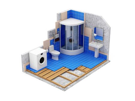 아파트 건설 개념. 공사중 욕실 흰색 배경에 고립