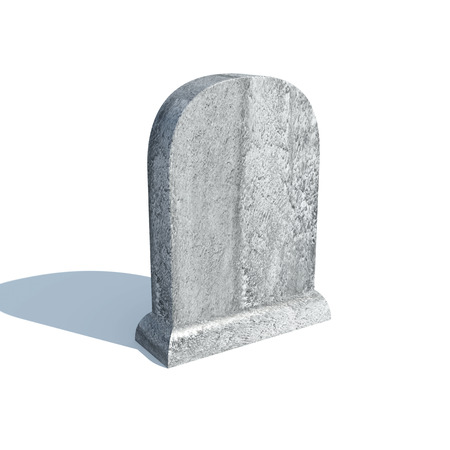 Gravestone with shadow isolated on white background photo