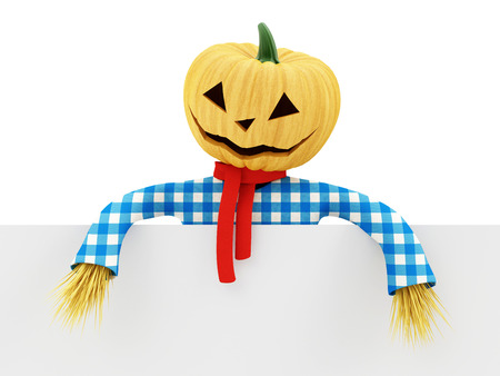 ghostly: Scarecrows with Blank Board isolated on white background