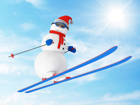 springboard: Happy Snowman on Ski Jumping from a Springboard in a wonderful sunny day