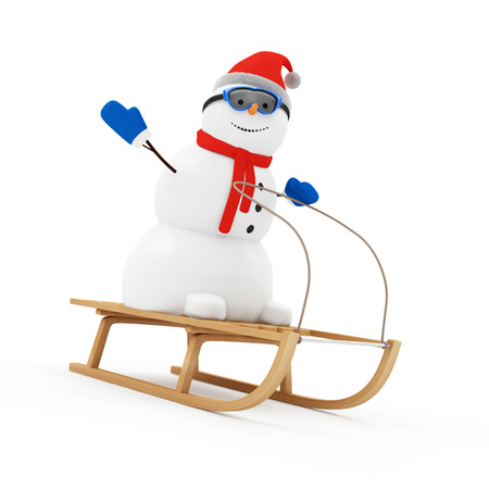 Happy Snowman Greeting on Wooden Sled isolated on white background photo