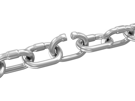 weakest: The Weakest Link Concept. Broken Metal Chain isolated on white background