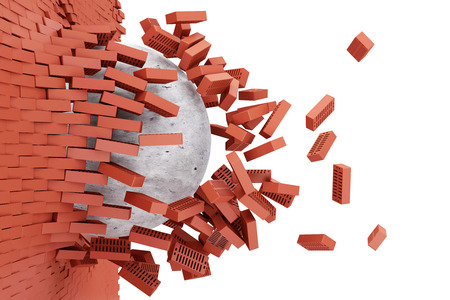 Demolished Red Brick Wall by Concrete Ball isolated on white background photo
