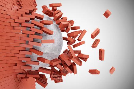 グラデーションの背景に赤レンガ壁具体的なボールによって破壊されました。