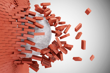red wall: Demolished Red Brick Wall by Concrete Ball on gradient background Stock Photo