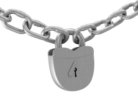 Heavy Old Iron Padlock with Chain isolated on white background photo