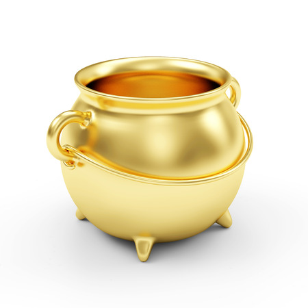 Empty Golden Pot isolated on white background photo