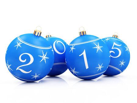 Blue Christmas Balls 2015 isolated on white background photo
