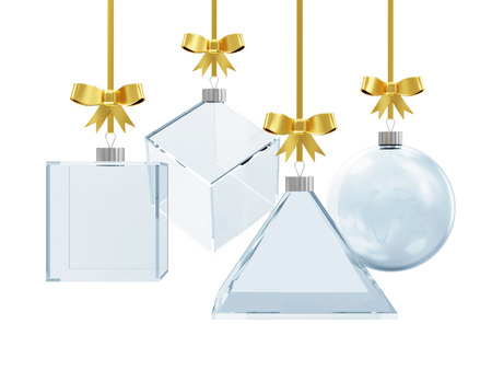 Abstract Empty Glass Christmas Ball with Golden Bow isolated on white background photo
