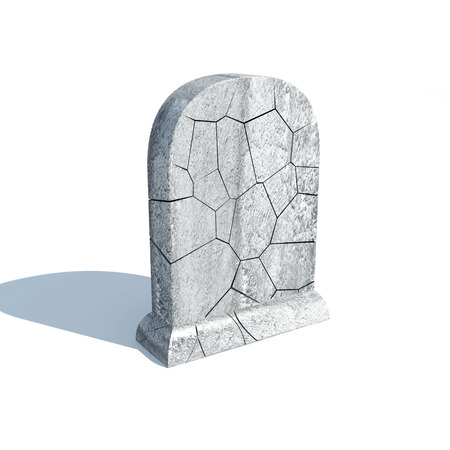 Broken Gravestone with shadow isolated on white background