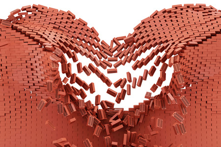 Demolished Red Brick Wall isolated on white background photo