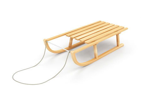 luge: Wooden Sled isolated on white background