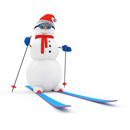 Happy Snowman on Skiing isolated on white background photo