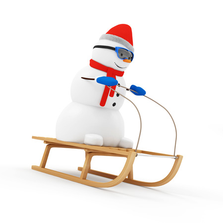 Happy Snowman on Wooden Sled isolated on white background photo