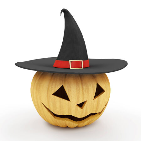 3d witch: Halloween Jack O Lantern Pumpkin with Witch Hat isolated on white background