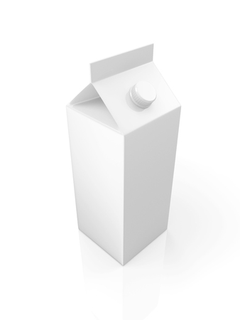 quart: White Blank Milk or Juice Package isolated on white background