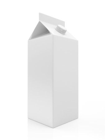 White Blank Milk or Juice Package isolated on white background photo