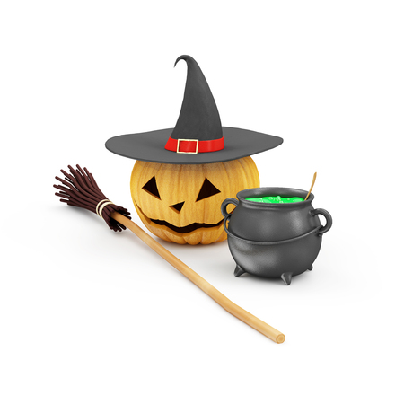 3d witch: Halloween Jack O Lantern Pumpkin with Witch Hat, Broom and Witches Cauldron with Green Potion isolated on white background