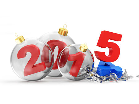 Conceptual image of Happy New Year. Glass Christmas Balls 2015 isolated on white background photo