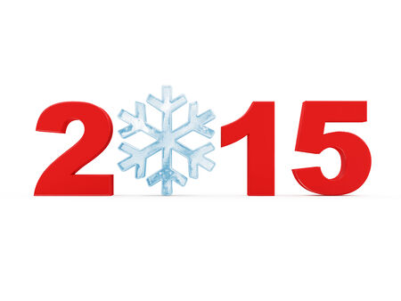 icy: New Year 2015 with Icy Snowflake isolated on white background
