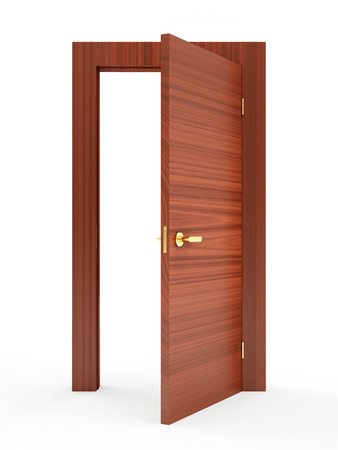 door way: Opened Modern Wooden Door isolated on white background