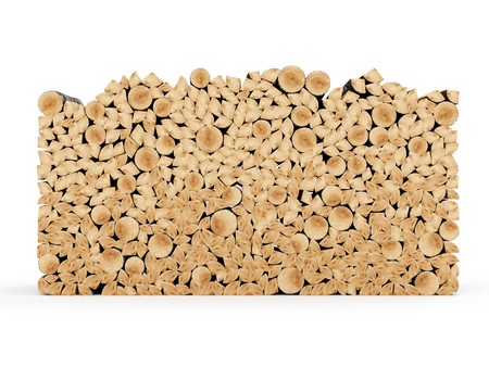 forest wood: Firewood Logs isolated on white background Stock Photo