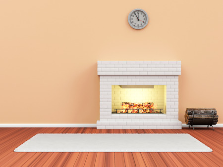stone fireplace: Modern Room 3D Interior with Burning Fireplace