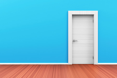 room door: Empty Room 3D Interior with Closed Door Stock Photo