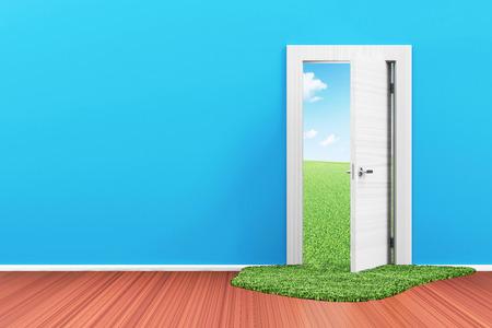 green door: Empty Room 3D Interior with Opened Door and Beautiful Landscape behind