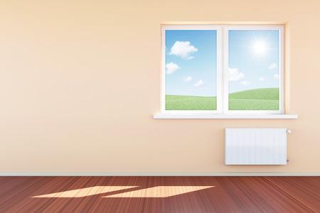 Modern Empty Room 3D Interior with Window in Light Tones photo