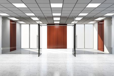 puerta: Oficina vac�a moderna del interior con grandes ventanas Foto de archivo