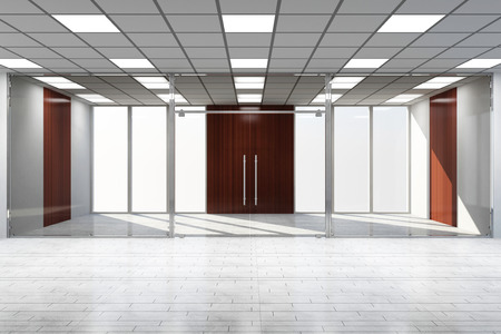 hollow walls: Modern Empty Office Interior with Big Windows Stock Photo