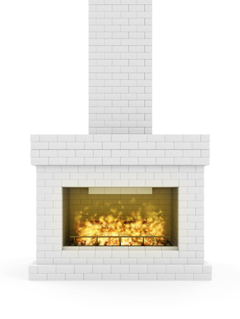 Burning Fireplace. Fireplace made from White Brick with Wooden Logs and Fire Flame Stock Photo