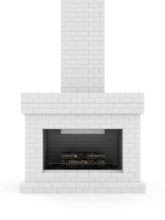 stone fireplace: Burning Fireplace. Fireplace made from White Brick with Wooden Logs and Fire Flame Stock Photo