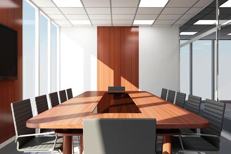Moderní Meeting Room 3D interiéru s velkými okny Reklamní fotografie
