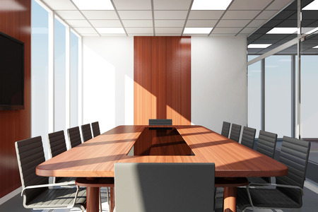 meeting place: Modern Meeting Room 3D Interior with Big Windows