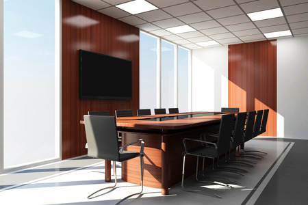 conference room meeting: Modern Meeting Room 3D Interior with Big Windows