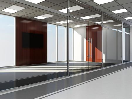 big windows: Современное офисное пустой интерьер с большими окнами Фото со стока