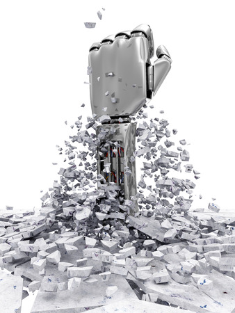 Metal Robotic Hand Breaking Through From Concrete Floor.