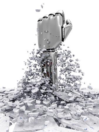 robot arm: Metal Robotic Hand Breaking Through From Concrete Floor.