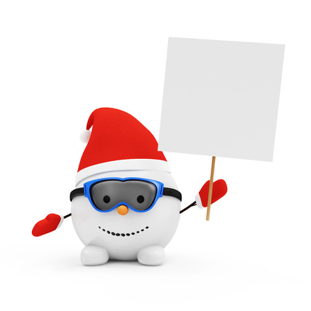 new year's cap: Happy Little Snowman with Blank Board isolated on white background Stock Photo